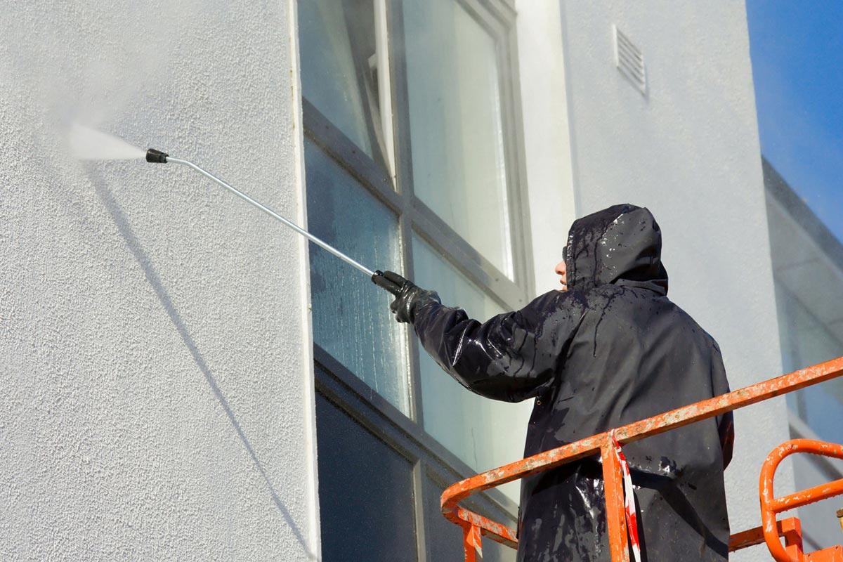Power washing exterior stucco wall, sky stucco systems toronto, Mississauga
